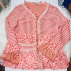 Stunning Pink Lace and Faux Fur Cardigan